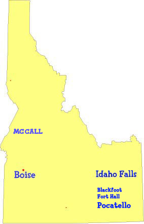 Map of Idaho showing French, German and Spanish language classes, activities and childrens programs for kids