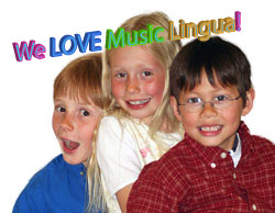 three language students, young kids having fun in german, french or spanish class for children